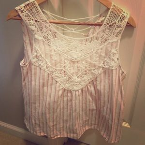 Anthropologie linen and lace sleeveless top